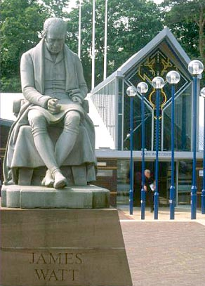 statue of James Watt outside Heriot Watt University reception